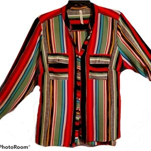 Striped button up muti color blouse size 2X